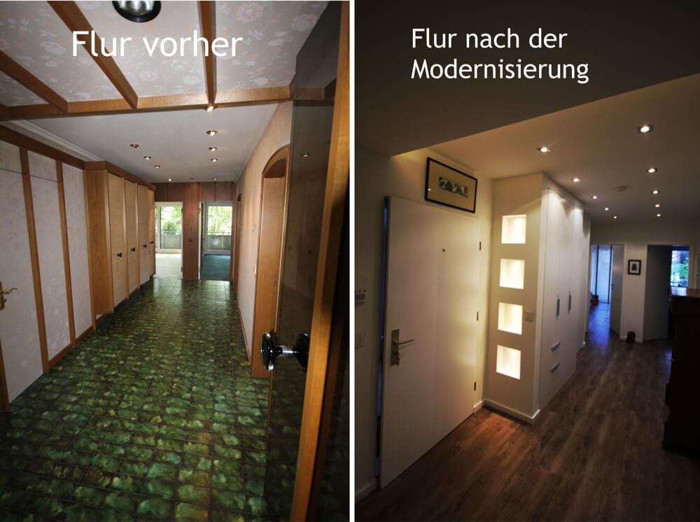 Referenzen: Flur vorher und nach der Modernisierung. Lichtnischen und Decke mit LED Funktechnik